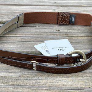 Something Navy Women Belt Leather Brown Elastic St